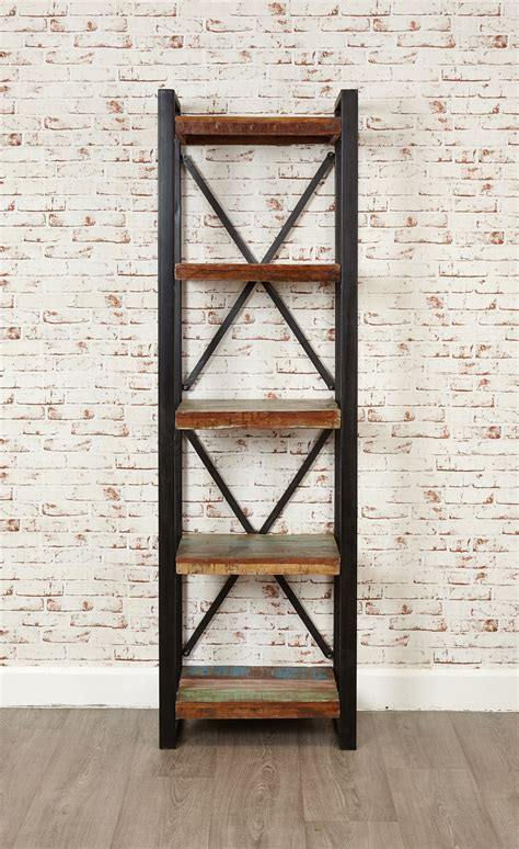 industrial chic open narrow bookcase hshire furniture