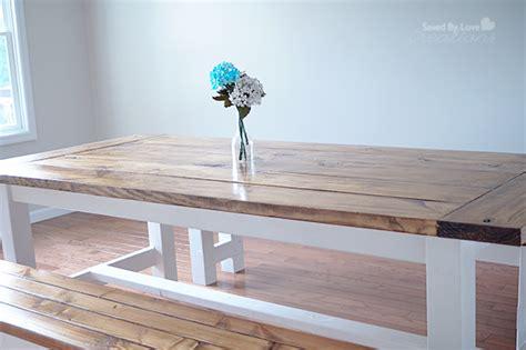diy farmhouse table  bench   plans  ana white