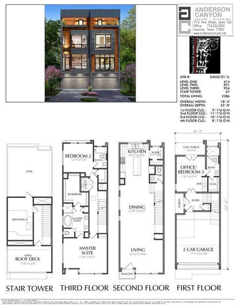 Contemporary Townhouse Plans by Duplex Townhouse Plan E4050 Apartments