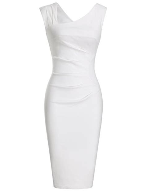 robe de chambre blanche heloise s a line sleeveless v neck pleated white cocktail dress s