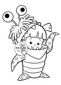 boo costume monster inc coloring pages for kids printable