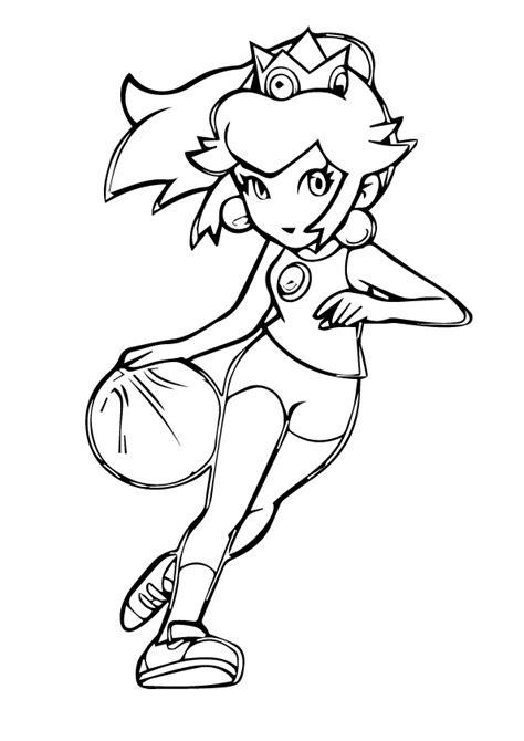 mario basketball coloring page princess peach coloring pages playing basketball