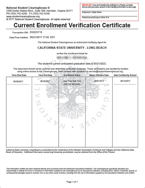 certification letter for enrollment academic history mycsulb