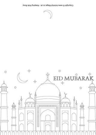 Eid Card Template by Eid Mubarak Colouring Card 2 Ramadan And Eid