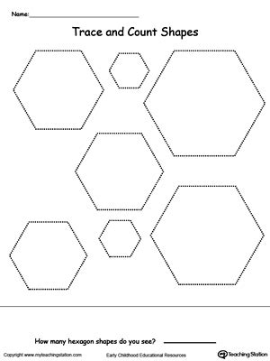hexagon pattern worksheet kindergarten shapes printable worksheets