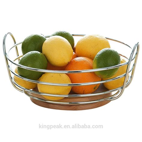 2015 best selling chrome wire fruit bowl with rubber wood base fruit basket metal wire