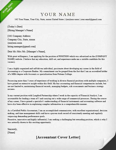 cover letter of an accountant accounting finance cover letter sles resume genius