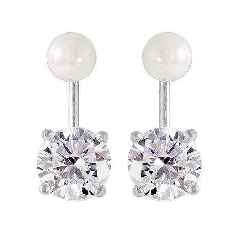 sterling silver pearl cz jacket earrings sste00990