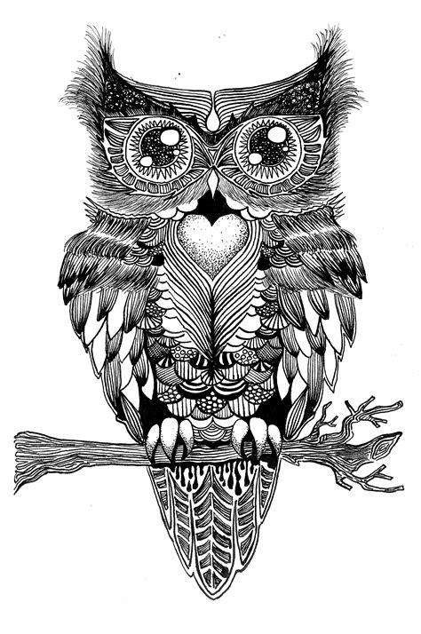 tattoo pen zwart symmetrische uil oost indische inkt tekeningen