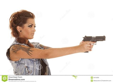 woman tattoos gun point side stock image image 33155383