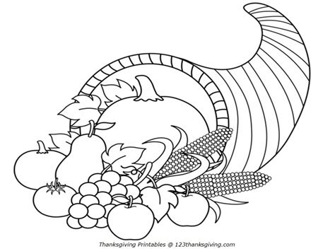 cornucopia coloring pages to and print for free