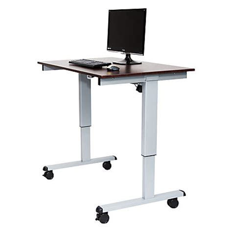 Office Depot Stand Up Desk by Luxor 48 W Wood Electric Standing Desk Walnutsilver