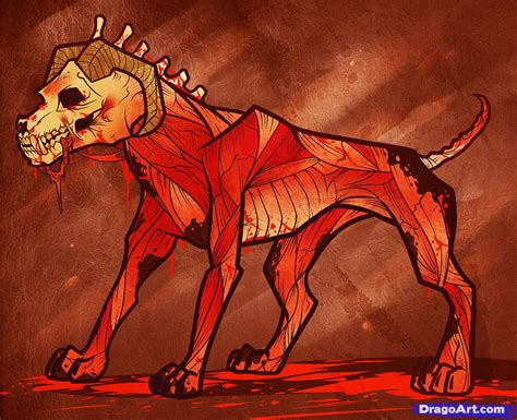 how to a hound how to draw a hellhound hell hound step by step characters free