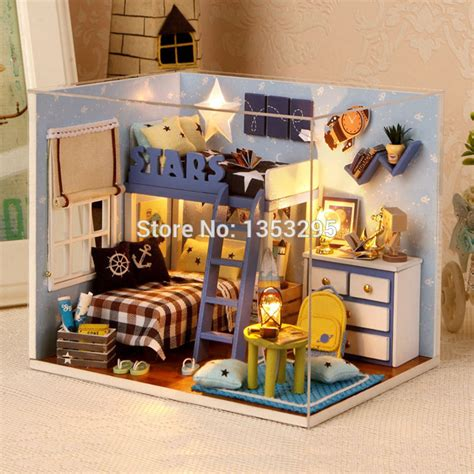 boys wooden dolls house 2015 new boy doll house miniature wooden doll house include furniture light dust cover