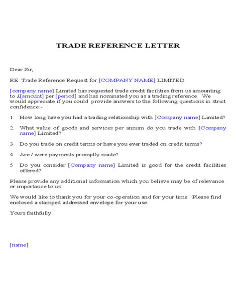 Trade Credit Reference Letter Template Trade Reference Letter Sle Free