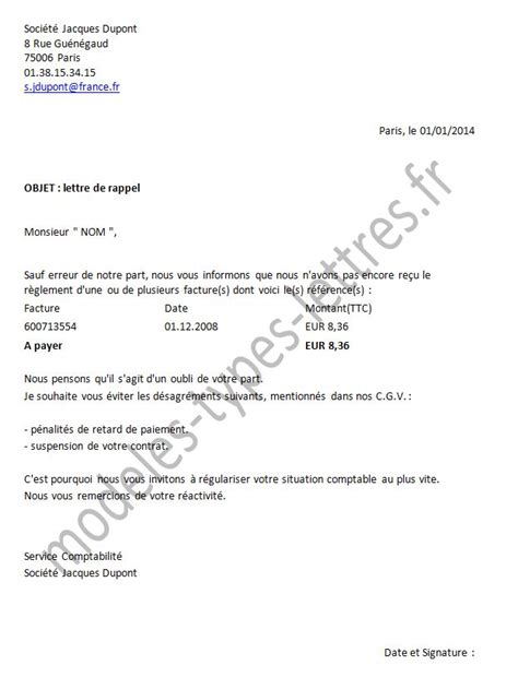 Exemple De Lettre Non Paiement Exemple Lettre Non Paiement Facture