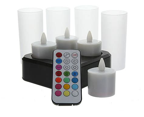 rechargeable tea lights with remote set of 4 remote rechargeable tea lights