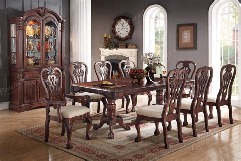 traditional cherry wood finish 9pc formal dining set table antique chairs