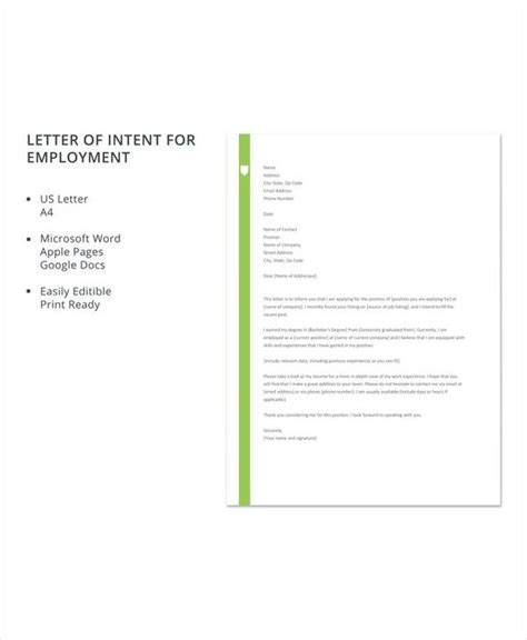 letter intent employment samples