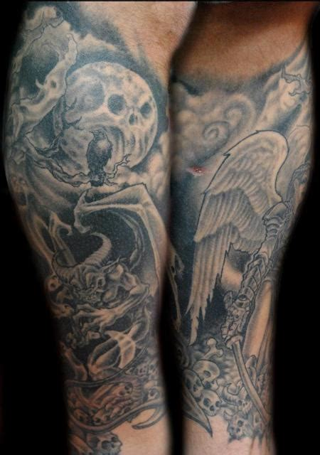 angels and demons tattoo sleeve designs leg sleeve pt2 by shane baker tattoos