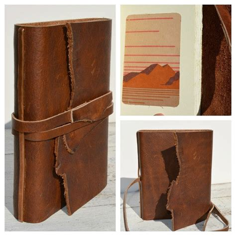 Handmade Leather Bound Journal - custom made handmade leather bound cowboy journal western