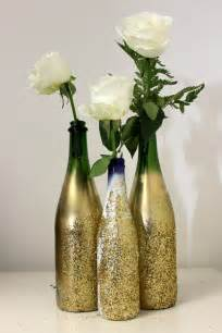 Wine Bottle Flower Vase Diy Glitter Vase For Nye Petal Talk