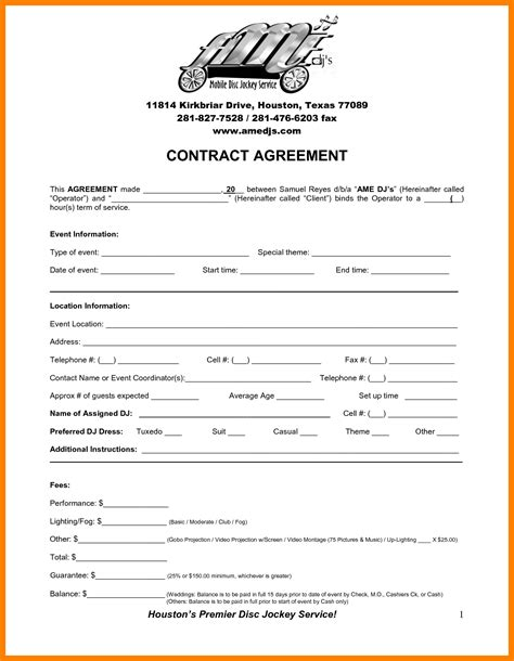 7 dj contract template coaching resume