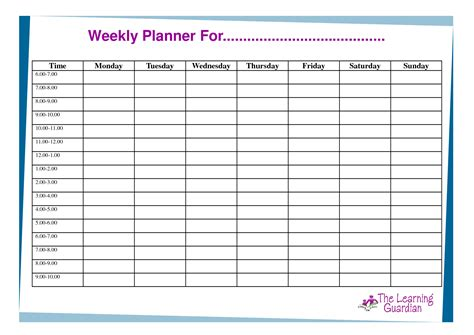 class schedule planner template 6 best images of printable weekly schedule for students