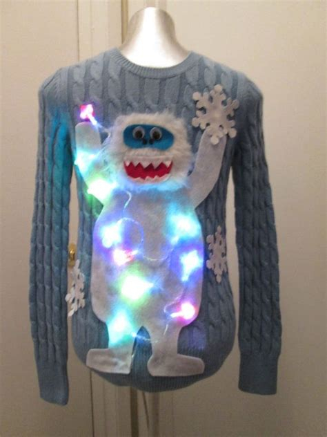 ugly christmas sweater ideas with lights abominable snowman with real lights ugly by motherfrakers