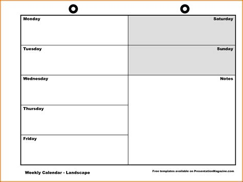 11 monday through friday printable calendar lease template