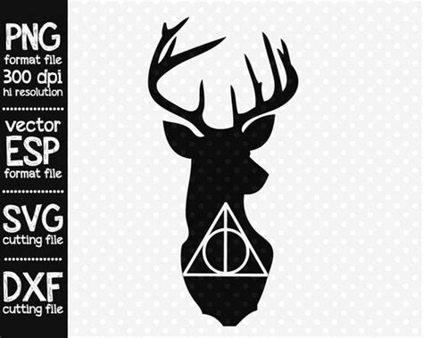 Deathly Hallows Stag deathly hallows stag clipart svg cutting file by
