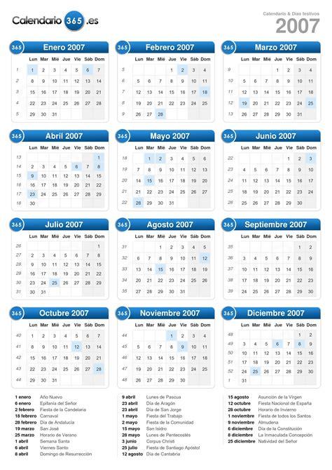 Calendario Enero 2007 Calendario 2007