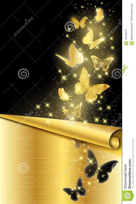 gold butterflies  black background stock vector