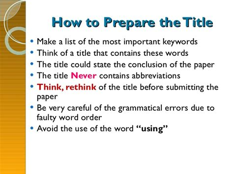 how to write a title in a paper how to write a best research paper
