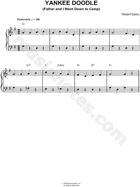 free yankee doodle sheet for clarinet traditional quot yankee doodle quot sheet easy piano