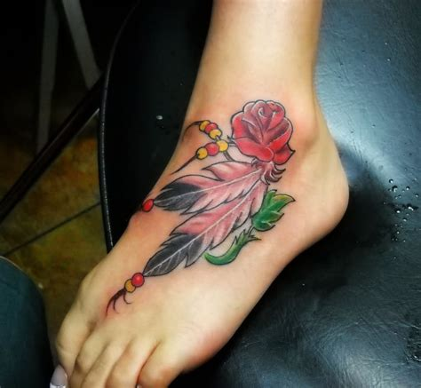 feather rose tattoo 26 awesome feather ankle tattoos