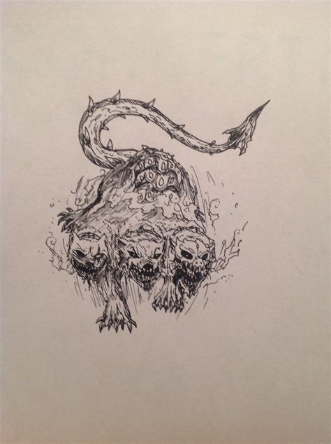 hellhound tattoo cerberus the three headed hellhound and eh