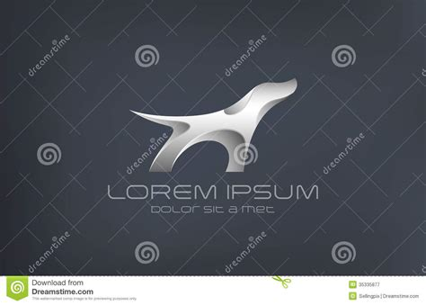 logo fashion luxury jewelry dog metal abstract sil stock