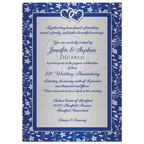 25th Wedding Anniversary Invitation 3   Royal Blue, Silver