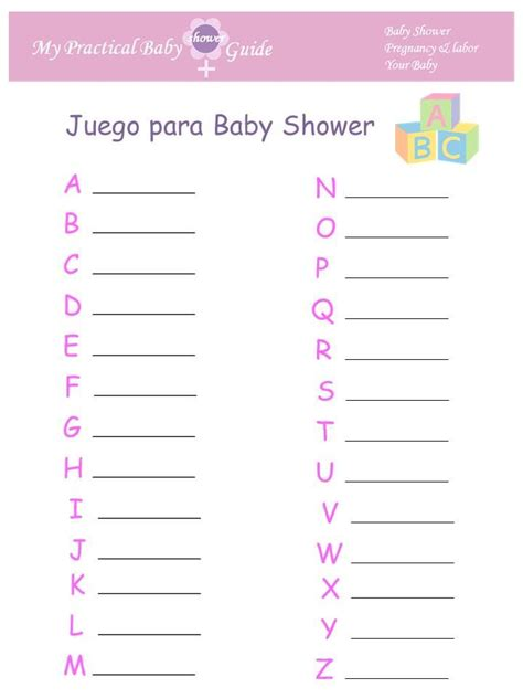 Baby Shower Juegos by Juego Para Baby Shower Abc Beb 233 Shower