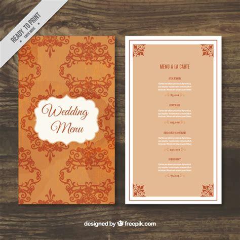 elegant wedding menu template vector free download