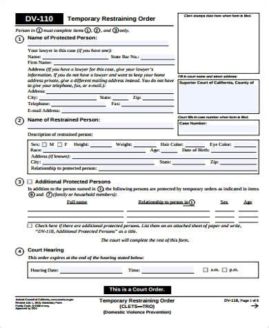 restraining order form restraining order form www pixshark images