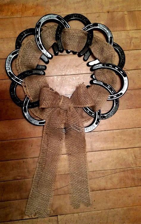 horseshoe decor black horseshoes and burlap as a wreath 691 best images about horseshoe crafts on pinterest