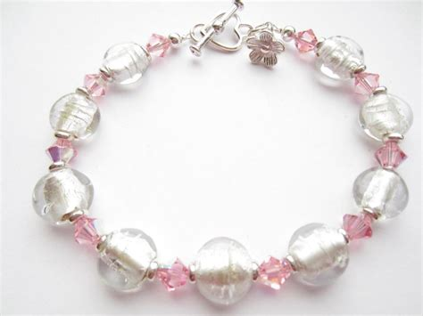 bracelet glass bead bracelet pink swarovski