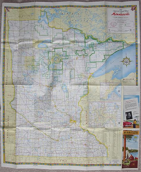 Route Drawer Map by 1954 Official Road Map Of Minnesota