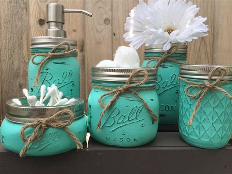 Jar Bathroom Decor by Painted Jar Bathroom Set By