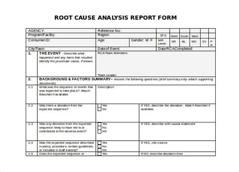 Root Cause Analysis Template Sanjonmotel Root Cause Analysis Template Excel