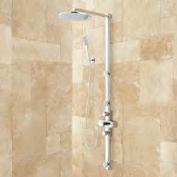 correia exposed pipe shower system with rainfall shower