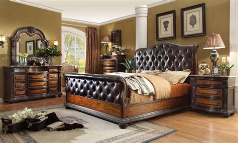 leather bedroom furniture angelina antique brown button tufted leather bedroom set