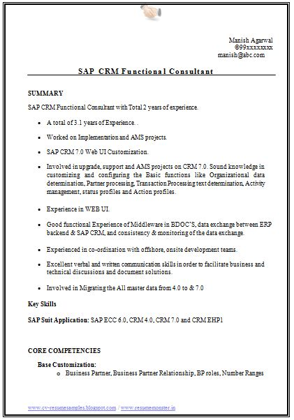 sap crm functional consultant resume sle 10000 cv and resume sles with free sap
